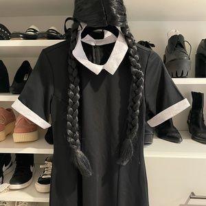 WEDNESDAY ADDAMS COSTUME WIG AND DRESS HALLOWEEN